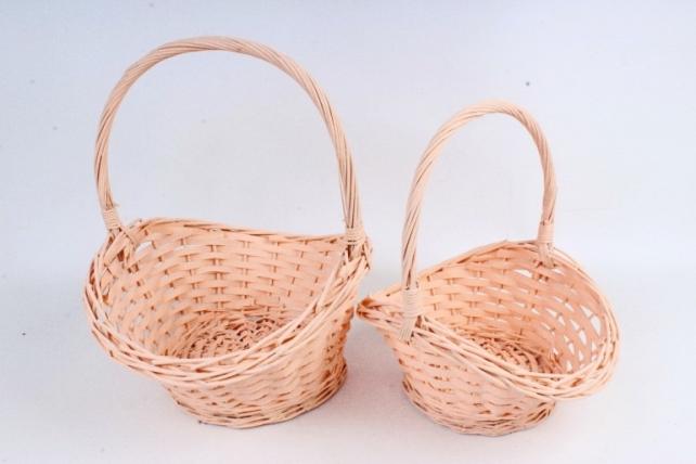 Набор корзин плетеных (ива) из 2шт - Овал     светло-персиковый 8511