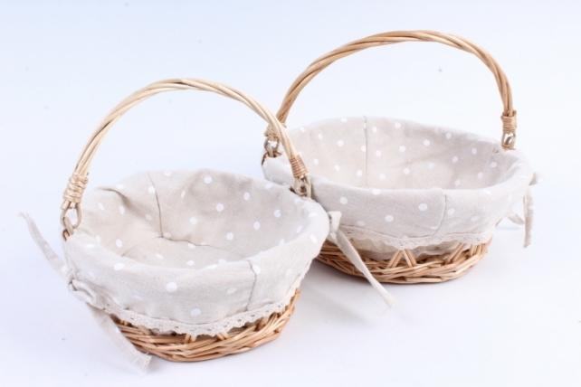 Набор корзин плетеных (ива) из 2шт - Круг серо-бежевый с рис.   0379