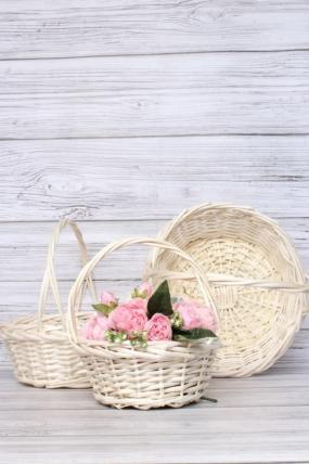 Набор корзин плетеных (ива) из 3шт - натуральный