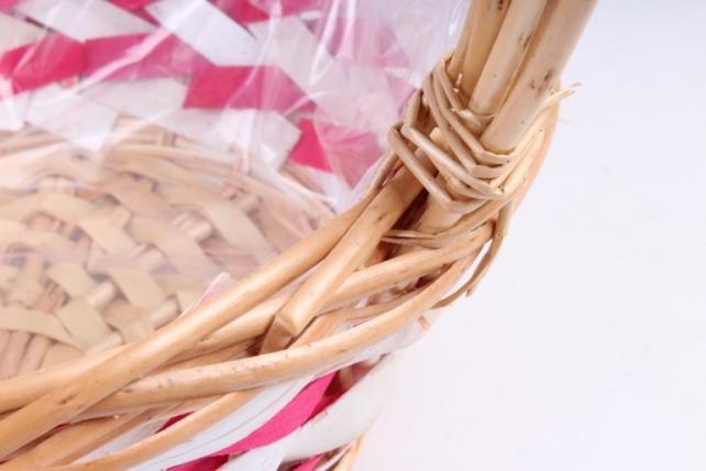 Набор корзин плетеных (ива) из 3шт -  Круг натуральный с коричневой полоской  1307