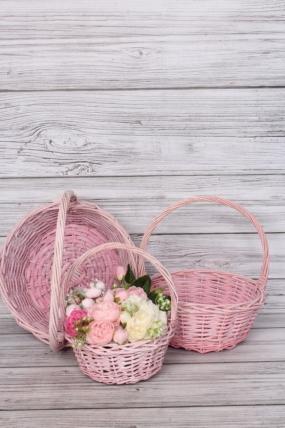 Набор корзин плетеных (ива) из 3шт  - Круг св.розовый 33*33*13, 29*29*12, 23*23*10  2852Н