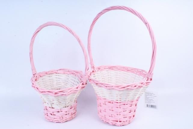 Набор корзин плетеных (ива) из 2шт -Круг светло-розовый 5848