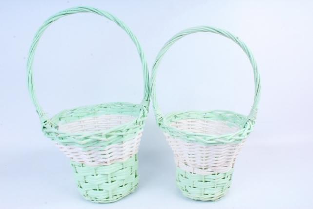 Набор корзин плетеных (ива) из 2шт -Круг  светло-зелёный 5862