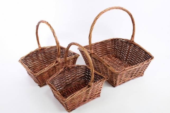 Наборкорзинплетеных(ива),прямоугольная, коричневая ,3шт4217