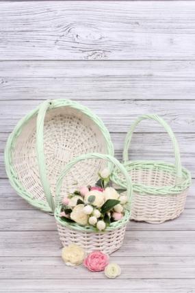 Набор корзин плетеных (ива) 3шт - Круг  белый/зеленый D36*14/39 см  6434Н