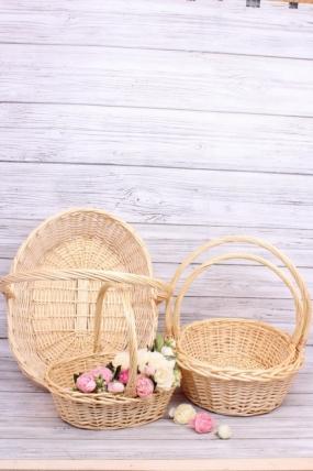 Набор корзин плетеных (ива) 3шт - Овал натуральный 61*48H18/54см  6618Н