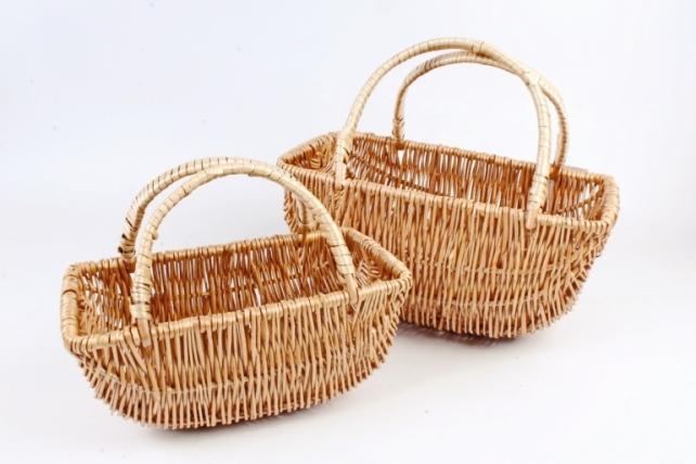 Набор корзин плетеных (ива)из 2 шт - Овал  натуральный 4277