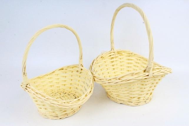 Набор корзин плетеных (ива)из2шт - Овал желтый  8481