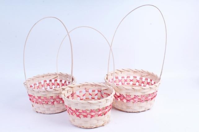 Набор корзин плетеных из 3 шт (бамбук) - Круг Красный 2021
