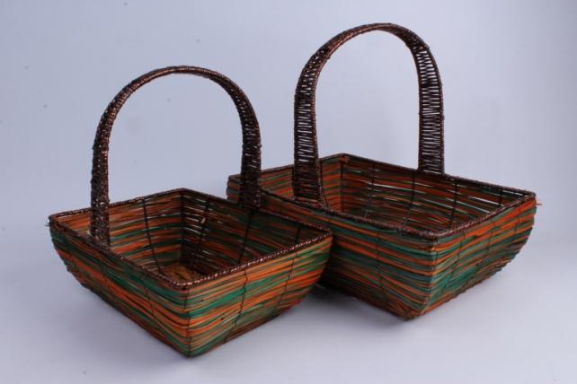 Набор корзин плетеных из 2шт (ива, дек. из соломы) - Овал