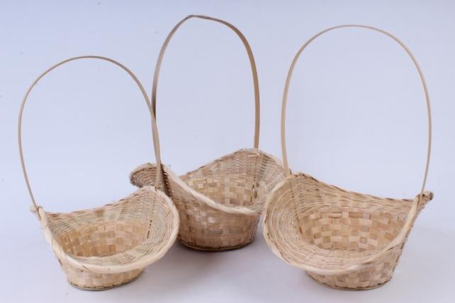 Набор корзин плетеных из 3 шт (бамбук)  3шт. натуральный   0886