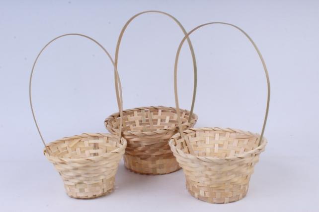 Набор корзин плетеных из 3 шт (бамбук) - Круг   натуральный    0862