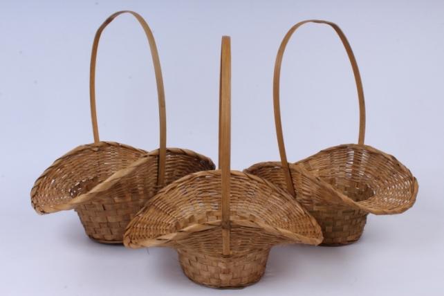 Набор корзин плетеных из 3 шт (бамбук) - Круглая  3шт. коричневый   0879