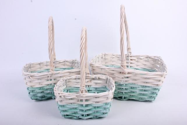 Набор корзин плетеных  из 3 шт прямоугольные, белые с голубым (ива, береста)
