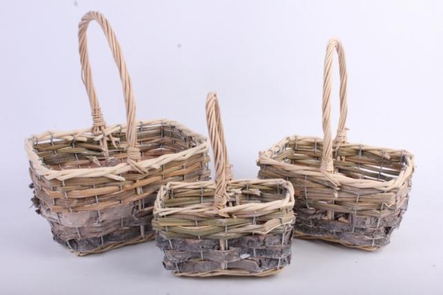 Набор корзин плетеных из 3 шт прямоугольные (ива, береста)