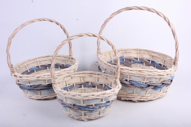 Набор корзин плетеных из 3х шт круглые  (ива) d=37 h=16/41cm