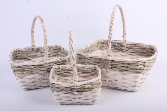 Набор корзин плетеных из 3х шт прямоугольные/белые с серым (ива)