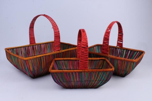 Набор корзин плетеных из 3шт (ива, дек. из соломы) - Овал оранжевый