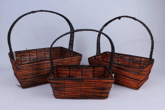 Набор корзин плетеных из 3шт (ива, с дек. из соломы) - Овал