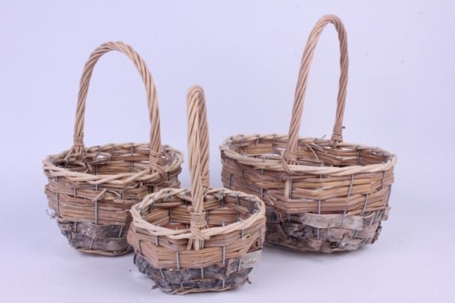 Набор корзин плетеных из 3шт - Круглая (ива, береста)   0492