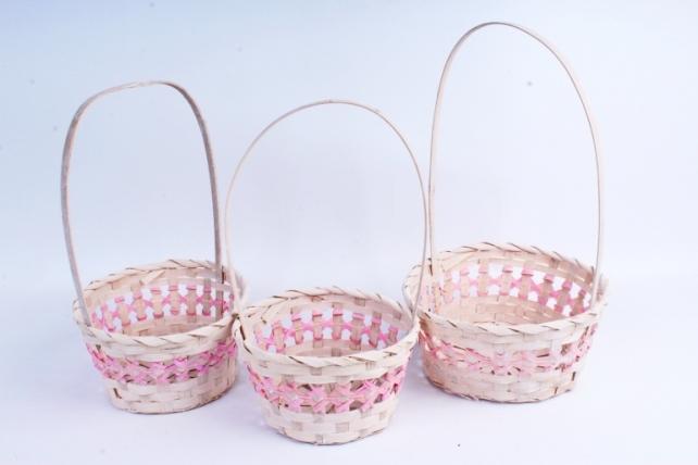 Набор корзин плетеных из 3шт (бамбук) - Круг Розовый 2038