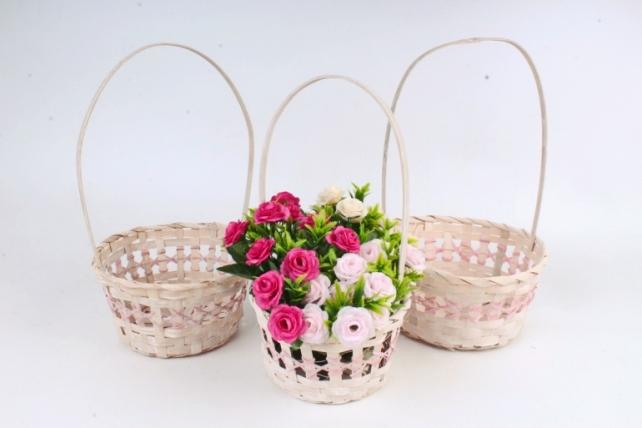 Набор корзин плетеных из 3шт (бамбук) - Круг  3 шт., розовый 4535 М