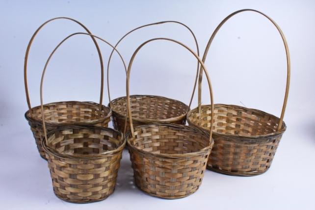 Набор корзин плетёных из 5шт (бамбук) - Круг  Коричневый 2052