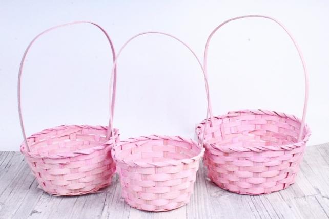 Набор корзин плетеных из 3шт (бамбук)- Круг  светло-розовый  5498