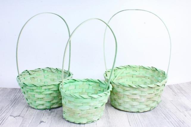 Набор корзин плетеных из 3шт (бамбук)- Круг светло-зеленый  5504