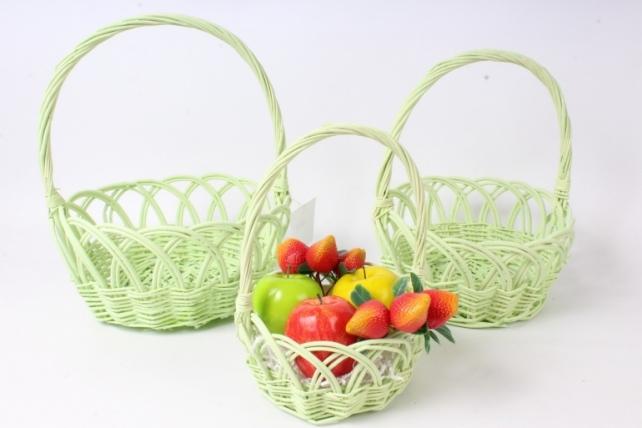 Набор корзин плетеных из 3шт (ива) - Круг ажурный, зеленый 3939