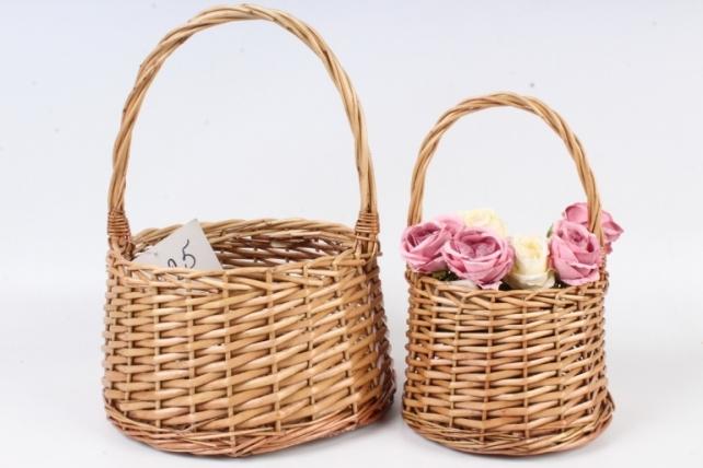 Набор корзин плетеных из 2шт (ива) - Круг D23х15/34 см, коричневый 3717
