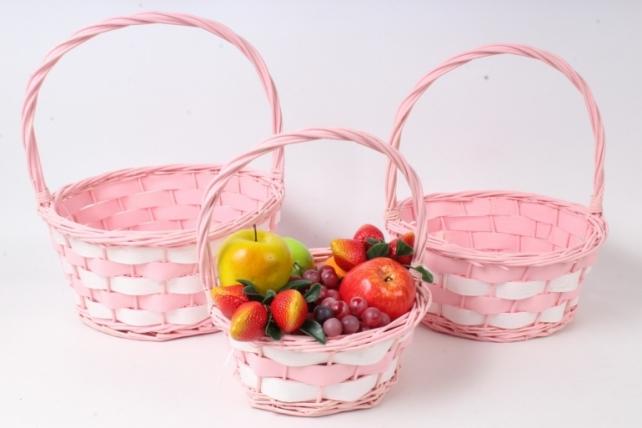Набор корзин плетеных из 3шт (ива) - Круг , розовый с белым  3823