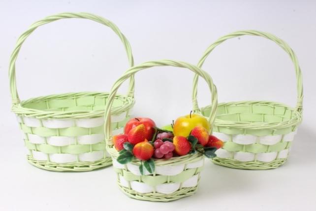 Набор корзин плетеных из 3шт (ива) - Круг, салатовый с белым  3809