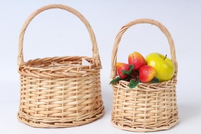 Набор корзин плетеных из 2шт (ива) - Круг D21х13/28 см, светло-коричневый 3700