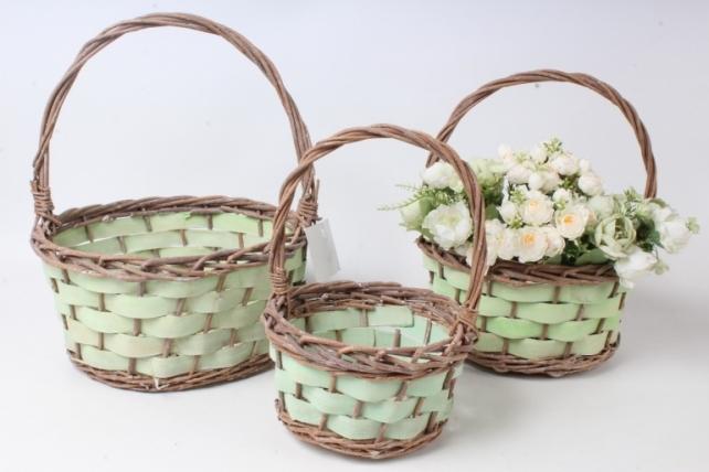 Набор корзин плетеных из 3шт (ива) - Круг, зеленый с коричневым 3854