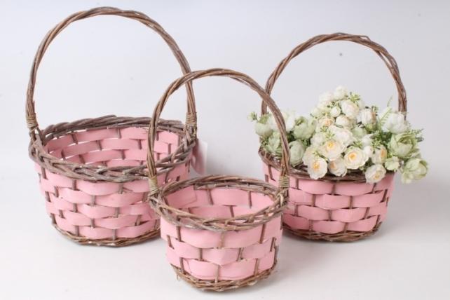 Набор корзин плетеных из 3шт (ива) - Круг, розовый с коричневым  3861