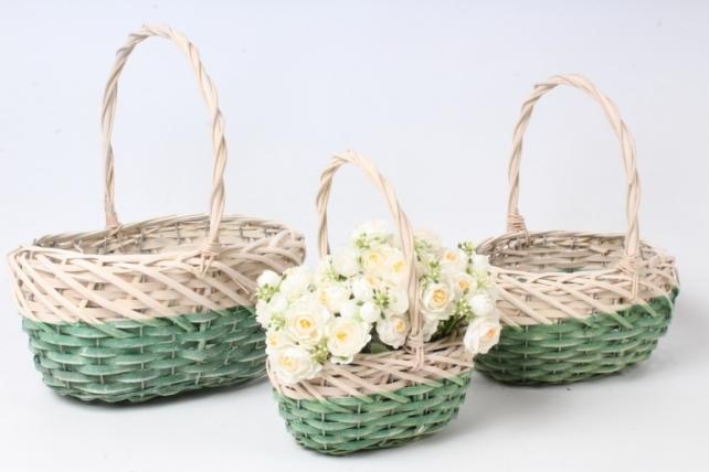 Набор корзин плетеных из 3шт (ива) - Овал, зеленая с белым  3762