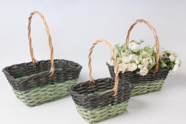 Набор корзин плетеных из 3шт (ива) - Прямоугольник, зеленая с серым 3731