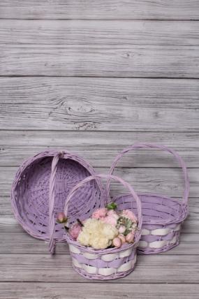 Набор корзин плетеных из 3шт (ива) -  D34х16/38 см,  фиолетовый с белым 3830М