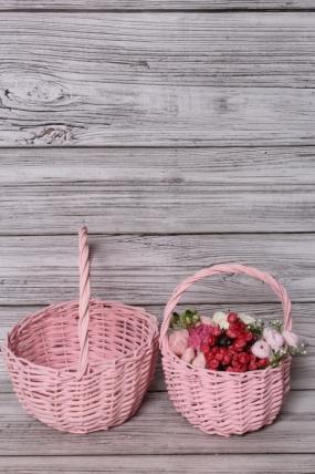 Набор корзин плетеных из 2шт (ива) -  D24x13/26 см, D18x11/23 см, розовый 6336М