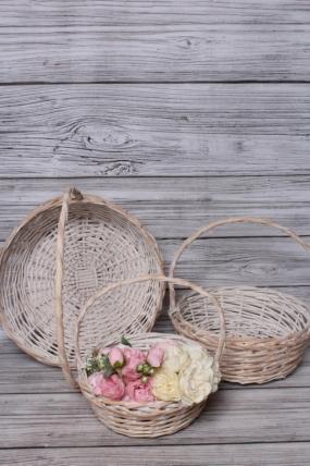 Набор корзин плетеных из 3шт (ива) -  36х36х13х36 см  выбеленный 4086М