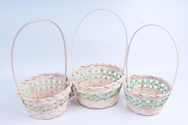 Набор корзин плетеных из 3шт(бамбук) - Круг Зеленый 2045