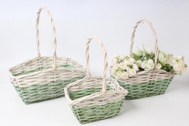 Набор корзин плетеных из 3шт  (ива) - Прямоугольник , зелёное с белым 3748