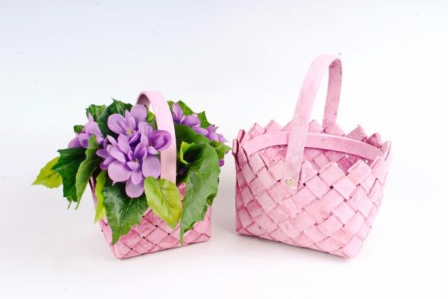Набор корзин плетеных из 2шт  (секвойя) -  2 шт., розовый 8527
