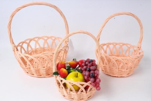 Набор корзин плетеных из3шт (ива) - Круг ажурный, персиковый 3915