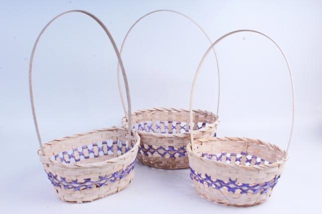 Набор корзин плетеных овал из 3шт (бамбук)  -  Фиолетовый 1666