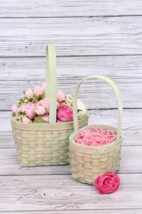 Набор корзин плетеных (секвойя) из 2шт - Квадрат 22х17хH12,5/32,5 см,  зеленый 8497М