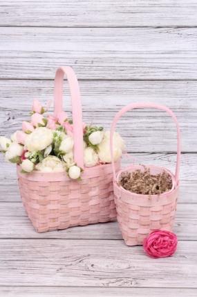 Набор корзин плетеных (секвойя) из 2шт - Квадрат  22х17хH12,5/32,5 см,  розовый 8480М