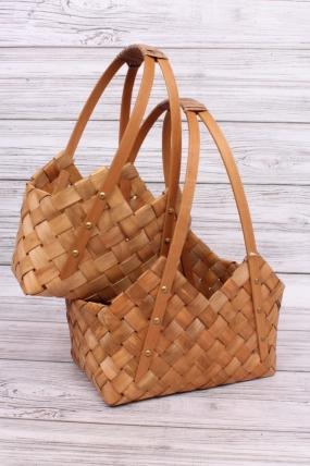 Набор корзин-сумок из бересты (из 2шт) - Прямоугольные 30*21*13*19/39cm  Коричневый 5116Н