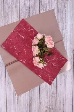 Набор матовой плёнки мрамор, 10 листов 60*60см, цв.красный 5833Н